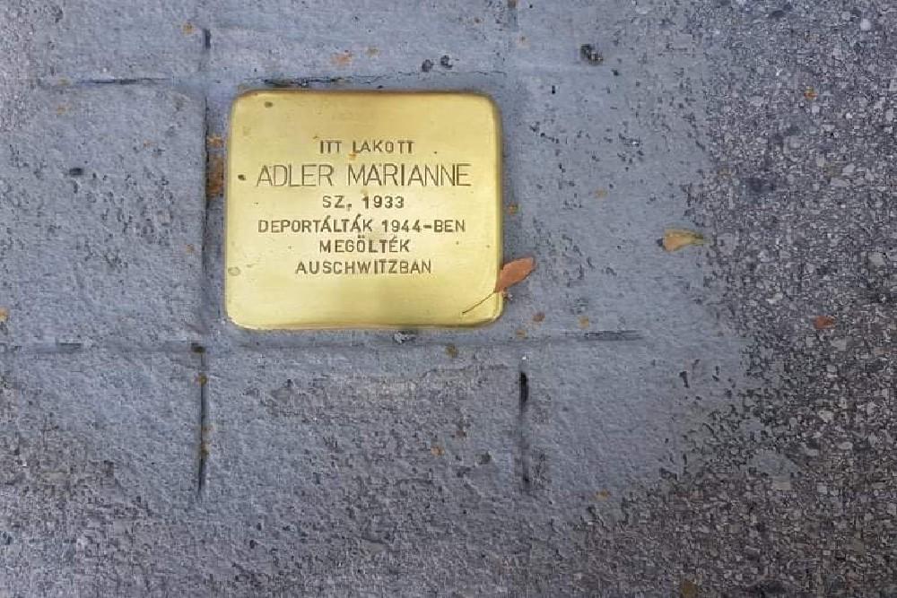 Auschwitzban megölt 11 éves kislányra emlékezik egy botlatókő Győrben